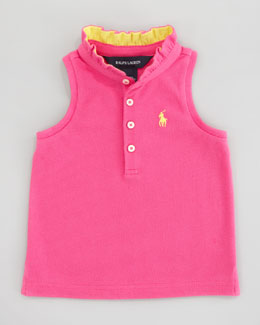 Ralph Lauren Sleeveless Polo Shirt With Ruffle Collar