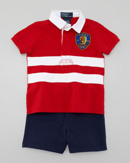 Ralph Lauren Rugby Shirt & Shorts Set, 3-9 Months
