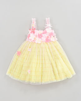 Le Pink Garden Princess Tulle Dress, Size 4-6X