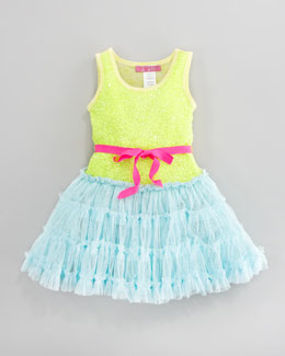 Le Pink Sequined Tulle Dress, Sizes 2T-3T