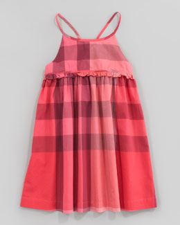 Burberry Check Halter Sundress, Pomegranate Pink