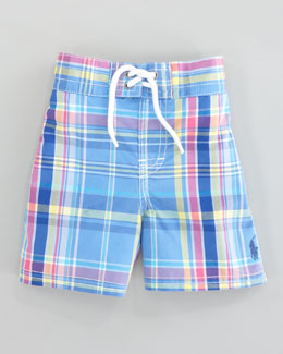 Ralph Lauren Childrenswear Blue Sanibel Swim Trunks, Sizes 8-10