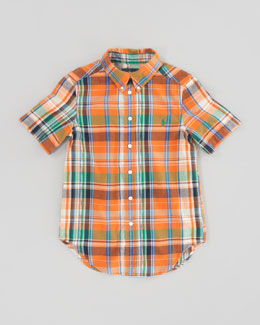 Ralph Lauren Childrenswear Blake Short-Sleeve Plaid Shirt, Orange Multi, Sizes 8-12
