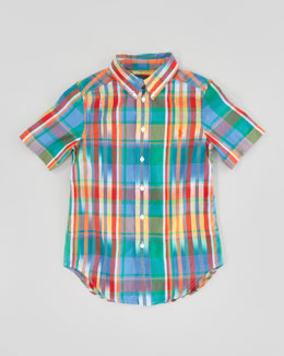 Ralph Lauren Childrenswear Blake Short-Sleeve Plaid Shirt, Green Multi, Sizes 8-12