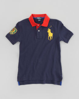 Ralph Lauren Childrenswear Big Pony Contrast Collar Mesh Polo, Graphic Navy, Sizes 8-10