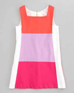 Zoe Tricolor Ponte Retro Dress, Sizes 2-6
