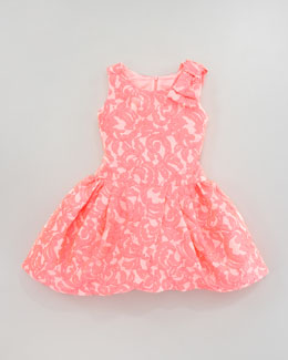 Zoe Brocade Tulip-Hem Dress, Sizes 2-6