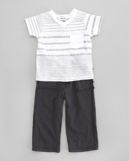 Splendid Littles Border Striped Jersey Tee & Pant Set
