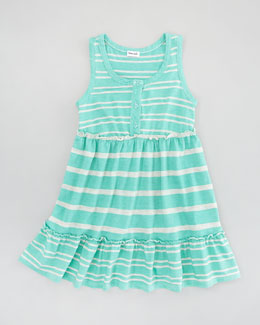 Splendid Littles Sugarcane Striped Tank Dress, Seashell, Sizes 4-6X