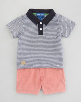 Andy & Evan Nashville Navy Striped Polo