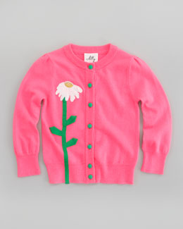 Milly Minis Flower Long Sleeve Cardigan, Sizes 2-7