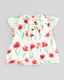 Milly Minis Flutter Pintuck Poppy-Print Blouse, Sizes 2-6