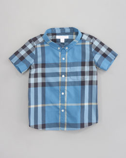 Burberry Mini Short Sleeve Check Shirt, Blue