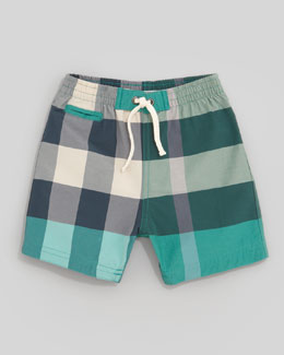 Burberry Mini Check Pocket Swim Shorts, Green