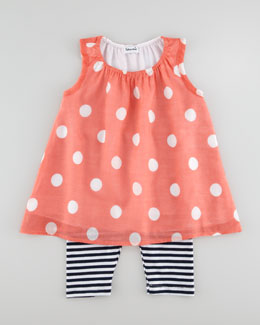 Splendid Littles Pool Party Polka-Dot Tunic & Striped Legging Set, Coral