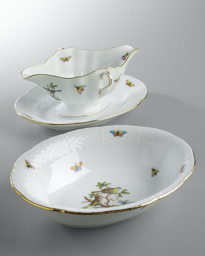 Herend Rothschild Bird Gravy Boat & Vegetable