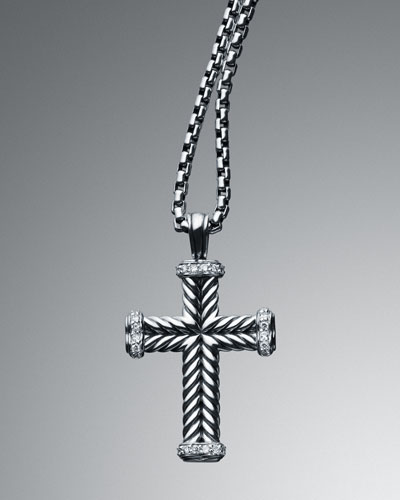 David Yurman Pave Diamond Chevron Cross Necklace
