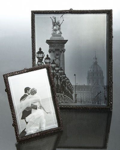 "L'Objet Oxidized Platinum ""Scales"" Photo Frames"