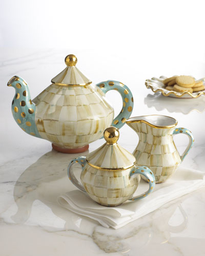 MacKenzie-Childs Parchment Check Tea Set
