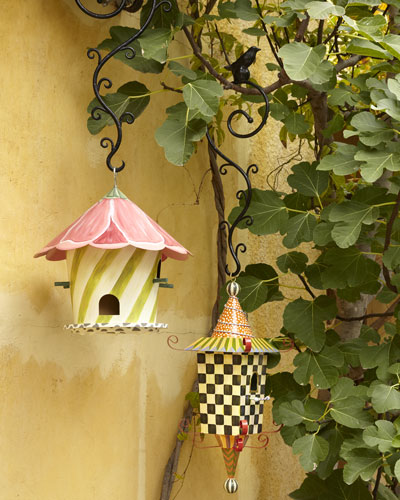 MacKenzie-Childs Hollyhock and Pagoda Birdhouses & Hook