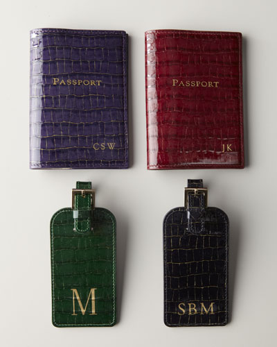 Graphic Image Crocodile-Embossed Patent-Leather Luggage Tag & Passport Case
