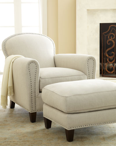 "Lee Industries ""Linda"" Linen Chair & Ottoman"