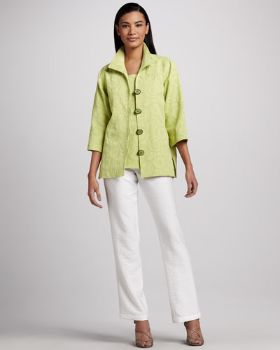 Caroline Rose Circle-Jacquard Easy Shirt, Tank & Cabo Straight-Leg Pants