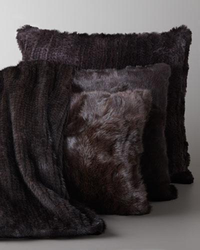 Adrienne Landau Knit Mink Throw & Rabbit Pillow