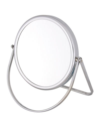 Chrome Stand Folding Double Sided Travel Mirror, 6.25