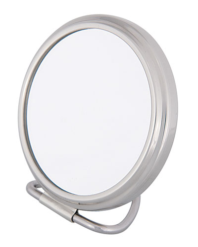 Chrome Stand Folding Double Sided Purse Mirror, 2.75""