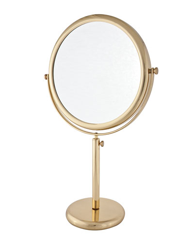 Brass Vanity Stand Double Sided Mirror, 9.5""