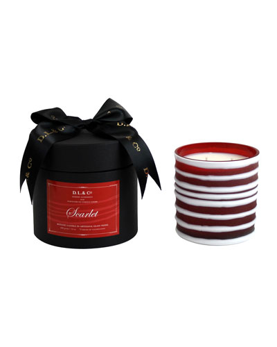 Scarlet Botanic Candle in Thick-Striped Artisan Vessel