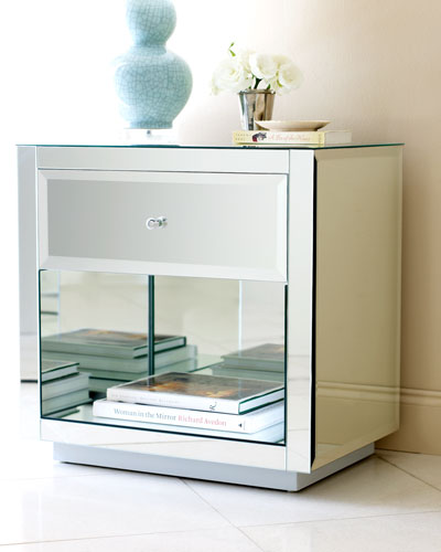 Neimanmarcus Hannah Mirrored Side Table