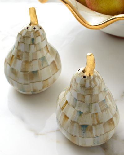 Parchment Check Pear Salt & Pepper Shakers
