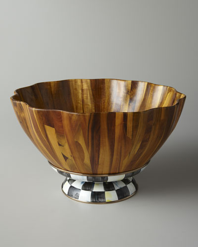 MacKenzie-Childs Courtly Check Fluted Wooden Salad Bowl