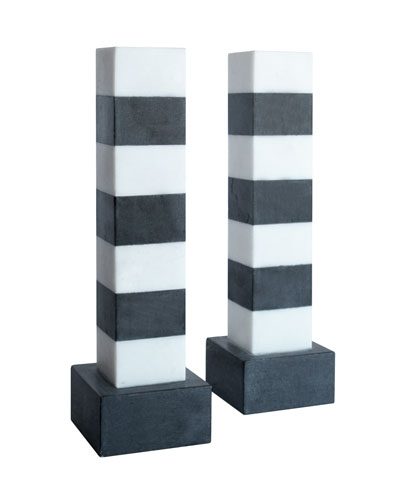 "Kelly Wearstler ""Memphis"" Marble Candlesticks"