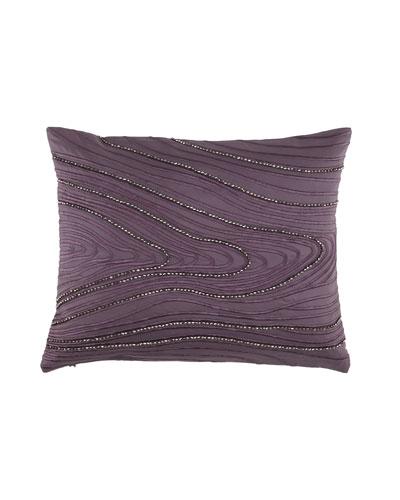"""Donna Karan Collection """"Watermark"""" Beaded 16"""" x 20"""" Pillow, Haze"""