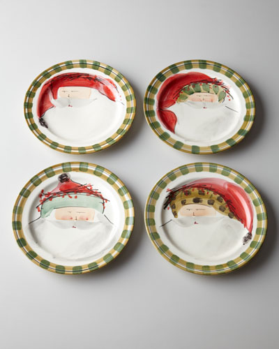"Vietri Four Assorted ""Old St. Nick"" Dinner Plates"