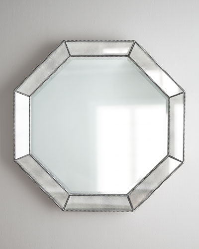 Octagonal Beaded-Trim Mirror