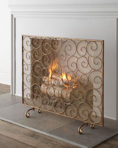 """Golden Swirl"" Fireplace Screen"