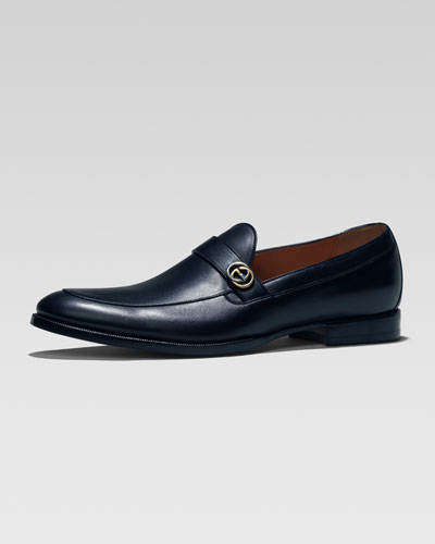 Gucci Bouts Formal Leather Moccasin, Blue