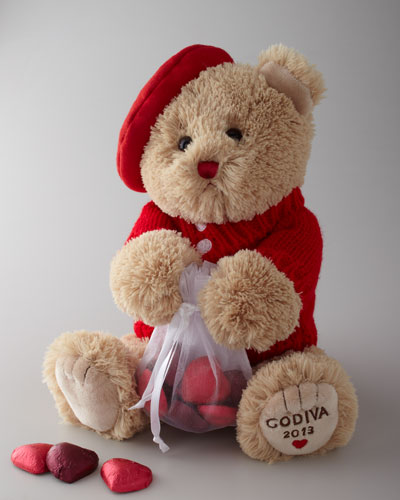 "Godiva ""Valentino"" the Bear & Chocolates"
