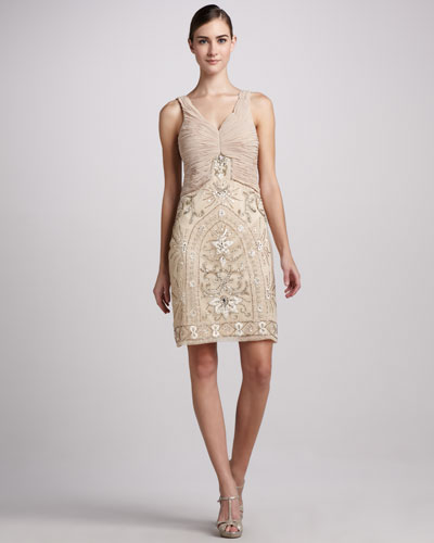 Sue Wong Sleeveless Cocktail Dress with Ruched Bodice
