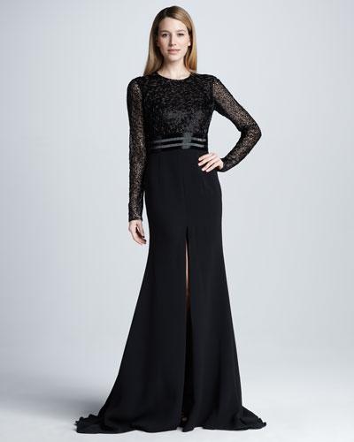 Naeem Khan Long-Sleeve Beaded Slit Gown