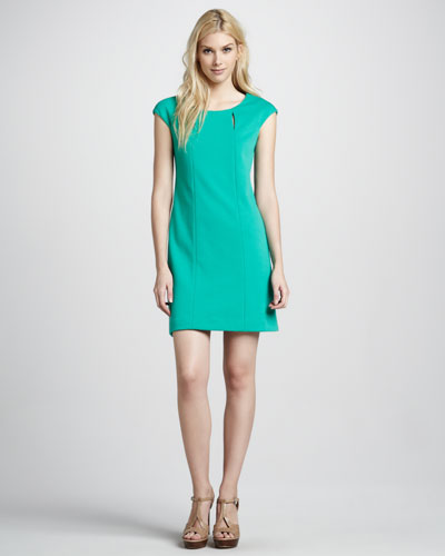 Phoebe Couture Knit Cap-Sleeve Seam Dress