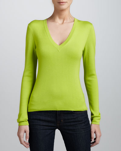 MICHAEL KORS Cashmere V-Neck Sweater, Acid