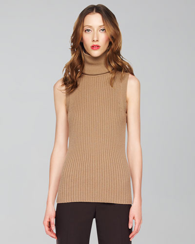 Michael Kors Sleeveless Ribbed Turtleneck