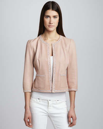 Grayse Beaded Leather Jacket
