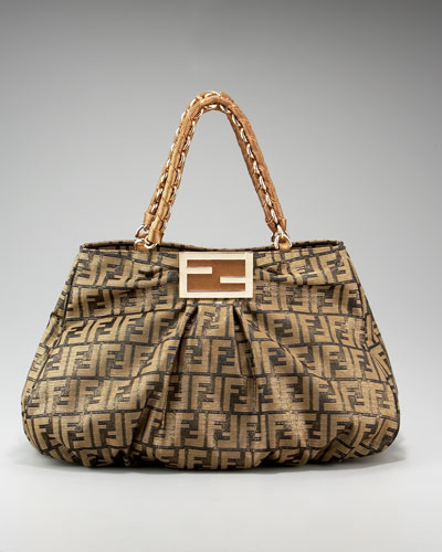 Fendi Borsa Mia Zucca Canvas Shoulder Bag 117