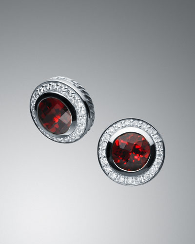 David Yurman 8mm Garnet Petite Albion Earrings